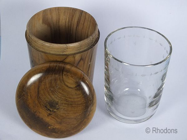 Antique Treen Pot and Beaker, Souvenir From Bordighera, Italy