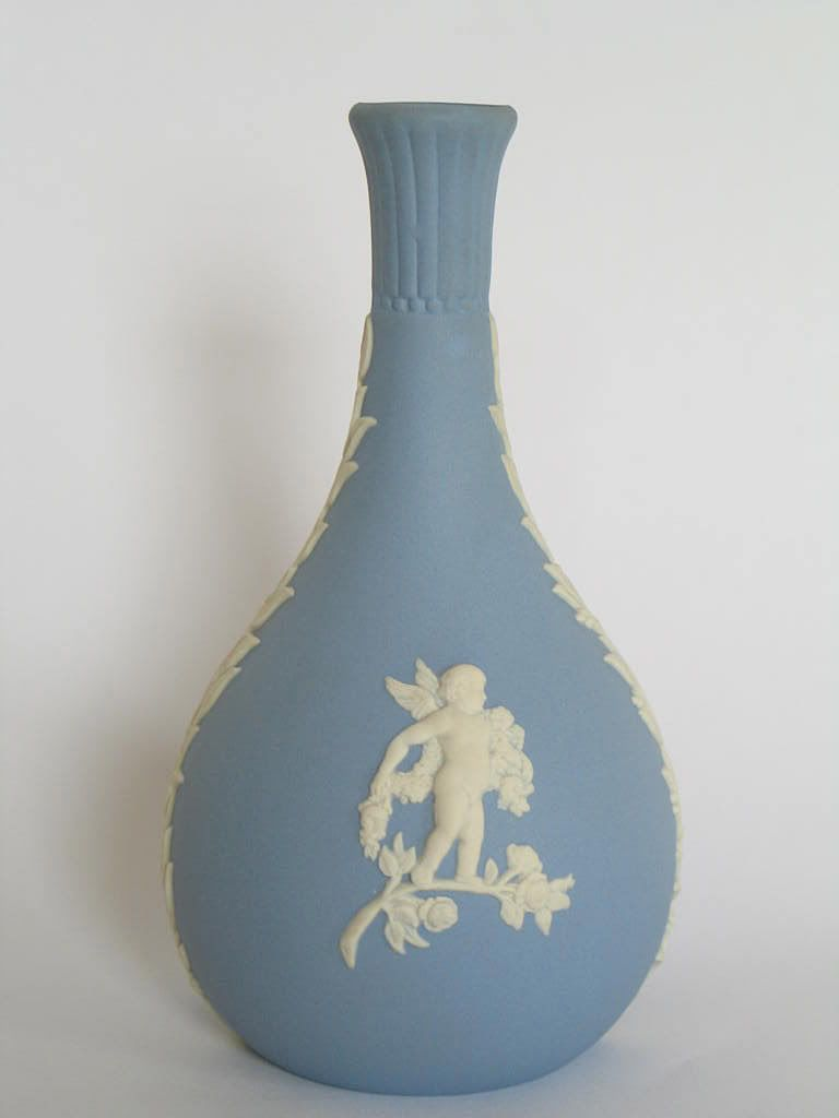 Wedgwood Blue Jasperware Bottle Vase, Cherub & Birds, 1972