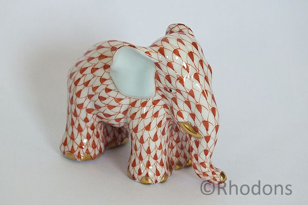 Miniature Elephant Figure By Herend, Rust Fishnet Pattern