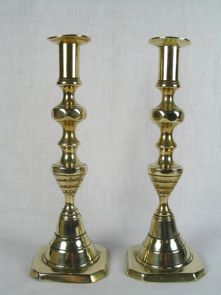 Victorian Brass Candlesticks, Beehive & Diamonds Pattern