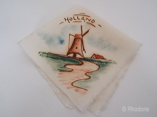 Dutch Hand Painted Souvenir Handkerchief With Windmill, Circa 1930s