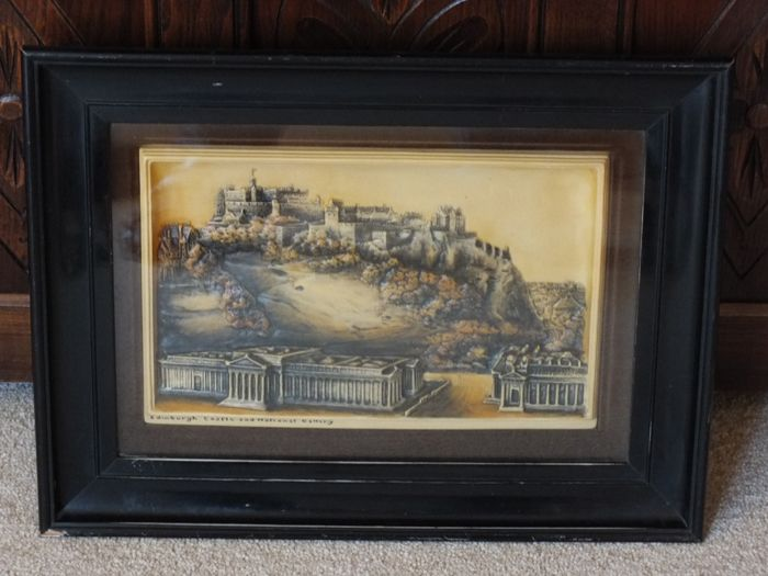 Osborne Ivorex Wall Plaque, Edinburgh Castle And National Gallery