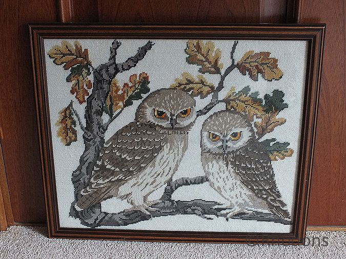 Vintage Hand Worked Owl Tapestry, Framed