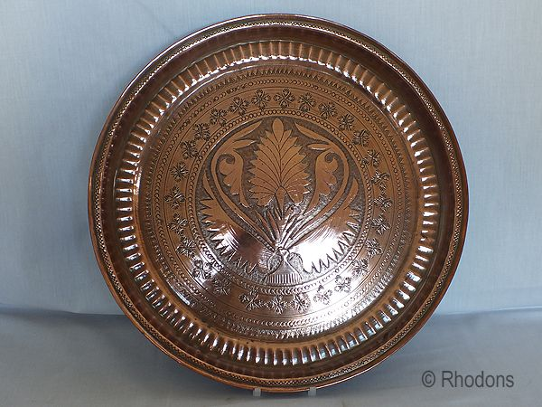 Large Antique Copper Charger, Hand Decorated