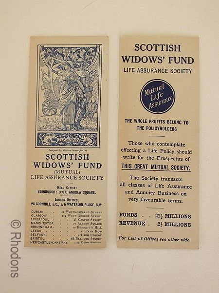 Walter Crane Art Nouveau Design Bookmark  Advertising For Scottish Widows Fund, Early 1900s