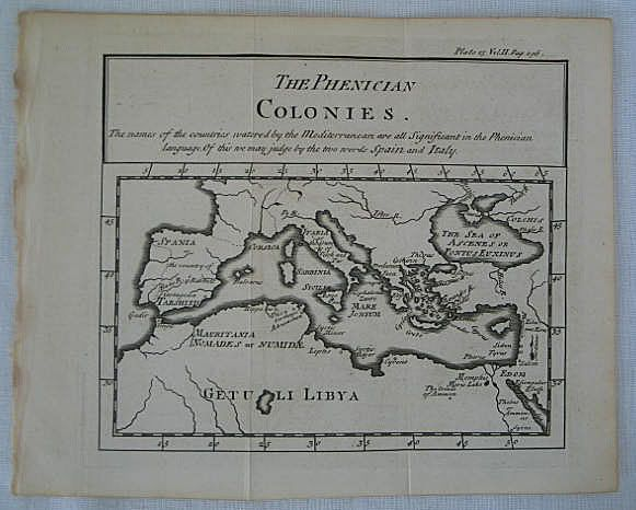 The Phenician Colonies, Antique Map Print, 18th Century