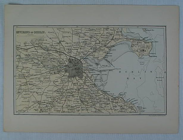 Environs of Dublin - 19th Century Map Print, J Bartholomew, Edinburgh
