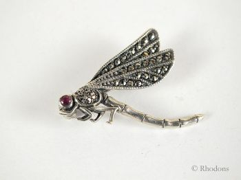 Silver & Marcasite Dragonfly Brooch. Early / Mid 1900s