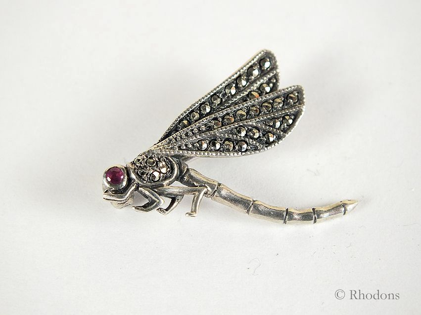 Dragonfly Brooch., Silver & Marcasites, Early / Mid 1900s