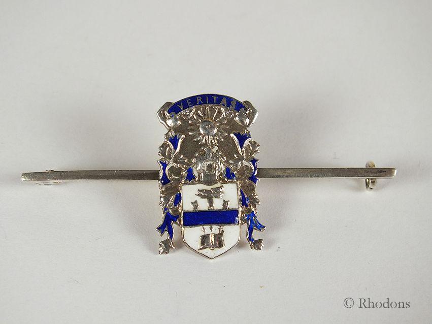 Silver & Enamel Tie Pin / Bar Brooch - Veritas Coat Of Arms