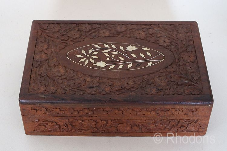 Indian Hand Carved Teak Wood Box With Inlays