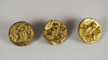 French Gilt Metal Coat Buttons, 30mm Diameter