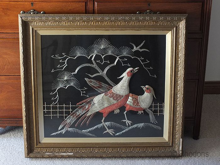 Antique Oriental Stumpwork Embroidery Picture, Chinese Mythological Fenghuang Birds