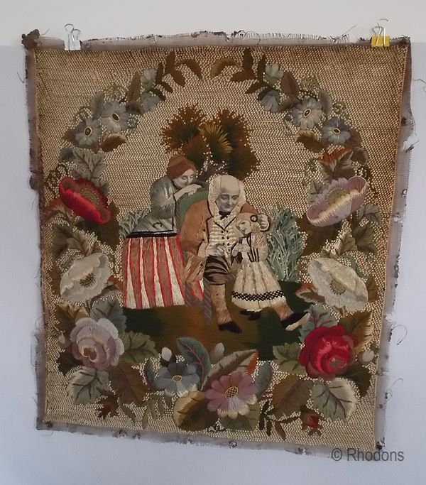 Victorian Stumpwork Tapestry Needlepoint Embroidery Panel. Family Group & Flora