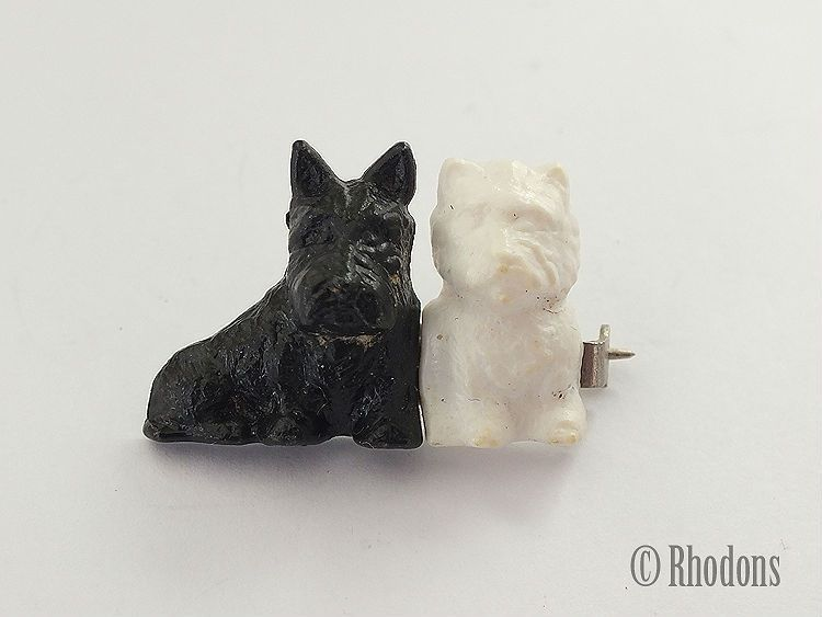 Scottie Dog Plastic Brooch, Black & White Whisky Advertising Dogs.