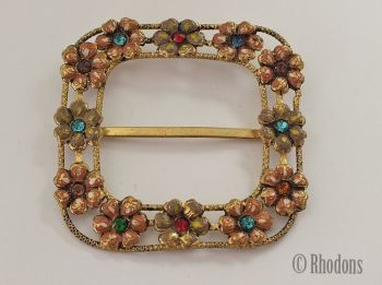 Art Deco Ladies Dress Buckle, Gilt & Coloured Rhinestones, Circa 1930s