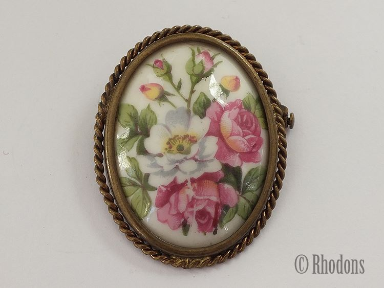 Limoges Porcelain Floral Pin Brooch, Roses.