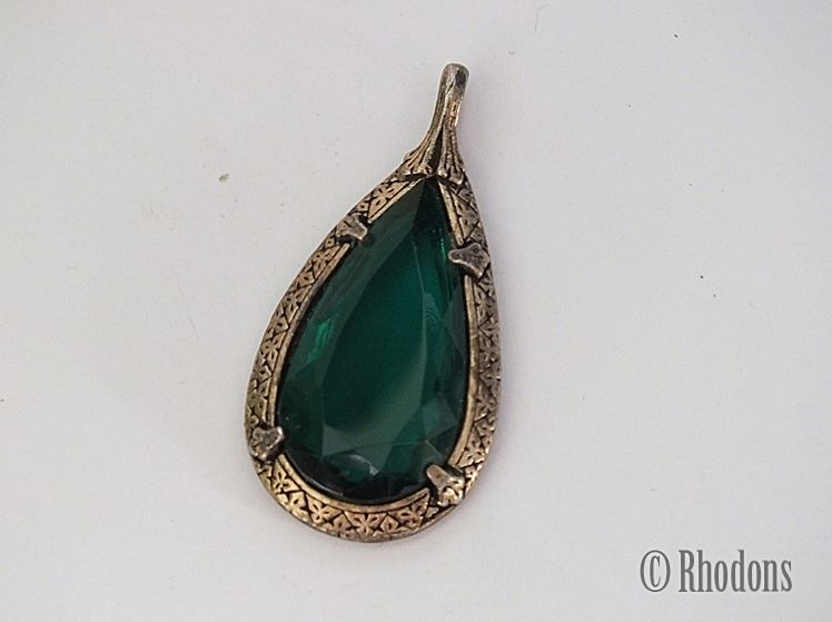 Miracle Necklace Pendant, Emerald Green Facet Cut Stone