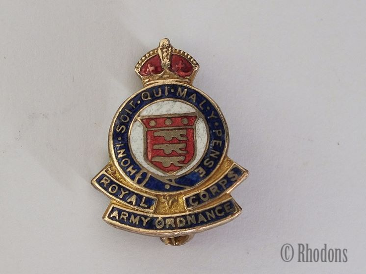 Royal Army Ordnance Corps Pin Badge, Sweetheart Brooch.