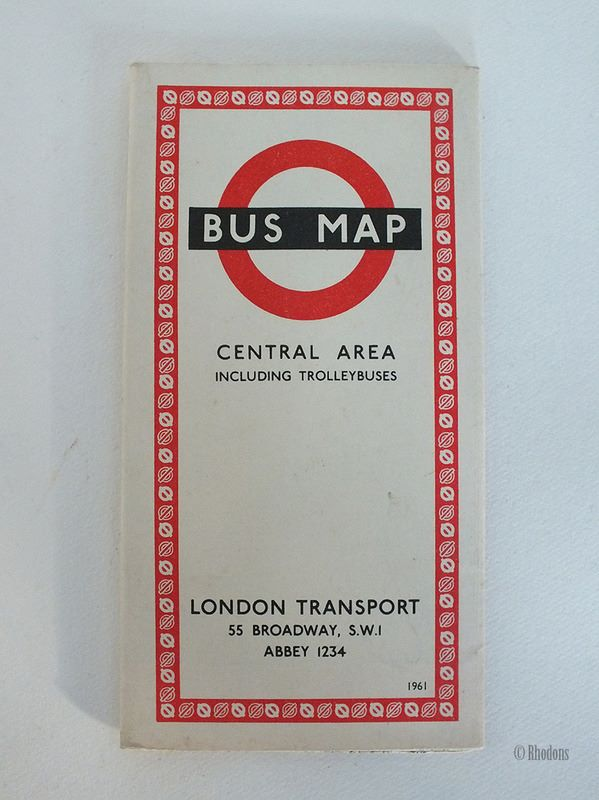 London Transport Bus Map, Central Area Including Trolleybuses, 1961, 661/1639E 250M.No3