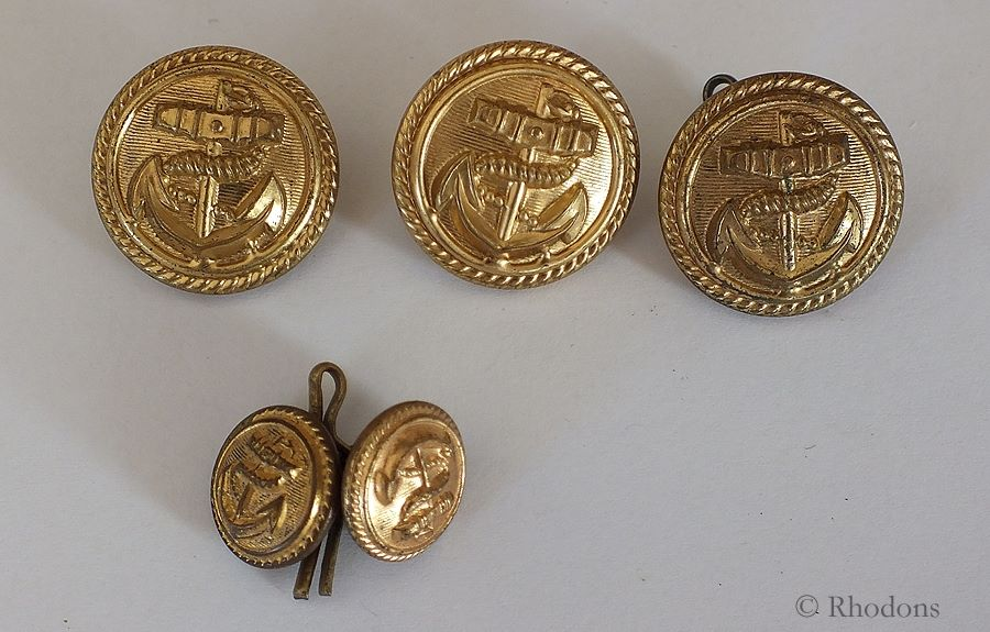 Gilt Metal Merchant Navy Officers Uniform Buttons - 3x 25mm + 2x 15mm