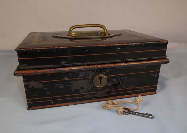 Antique Tin Cash Box With Inner Tray & Secret Compartment