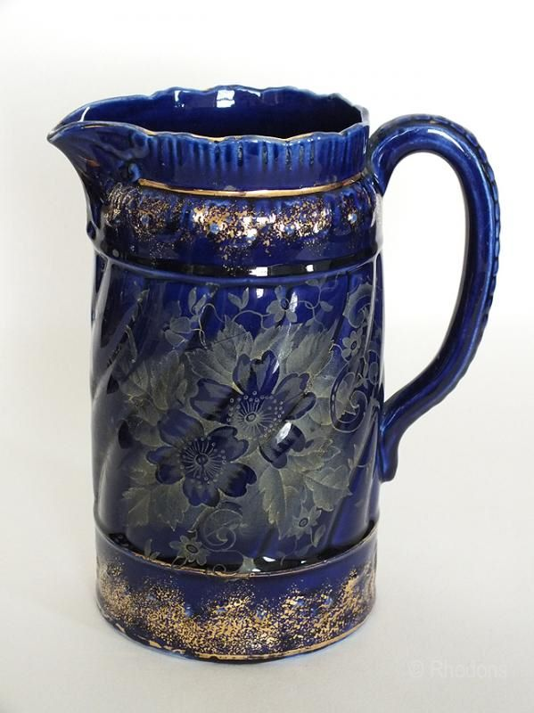 Victorian Water Jug, Cobalt Blue With Gilt Decoration. Late 1800s