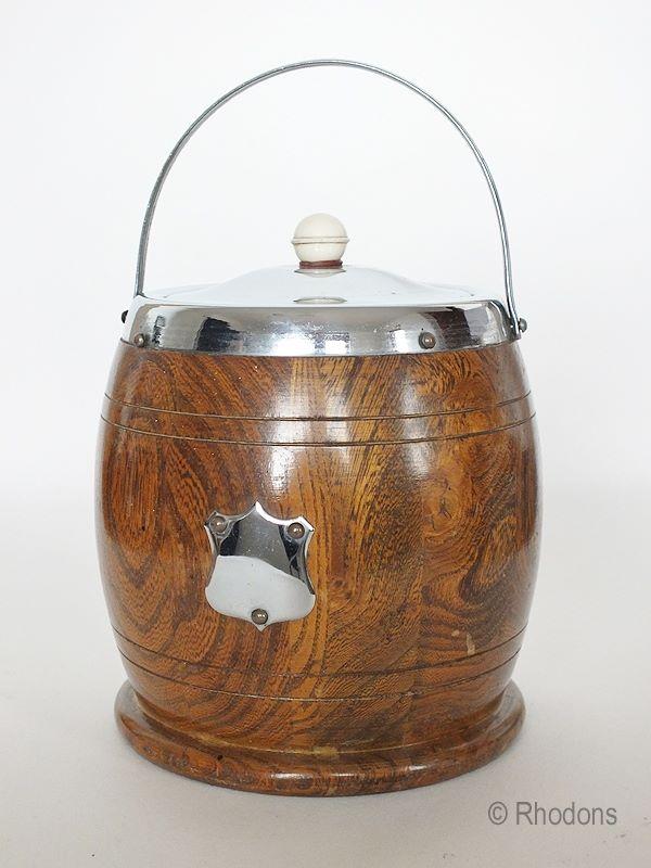 Oak Biscuit Barrel, Ice Bucket