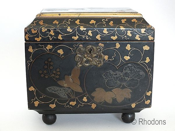 Antique Lacquerware Tea Caddy, Chinese/Japanese Export