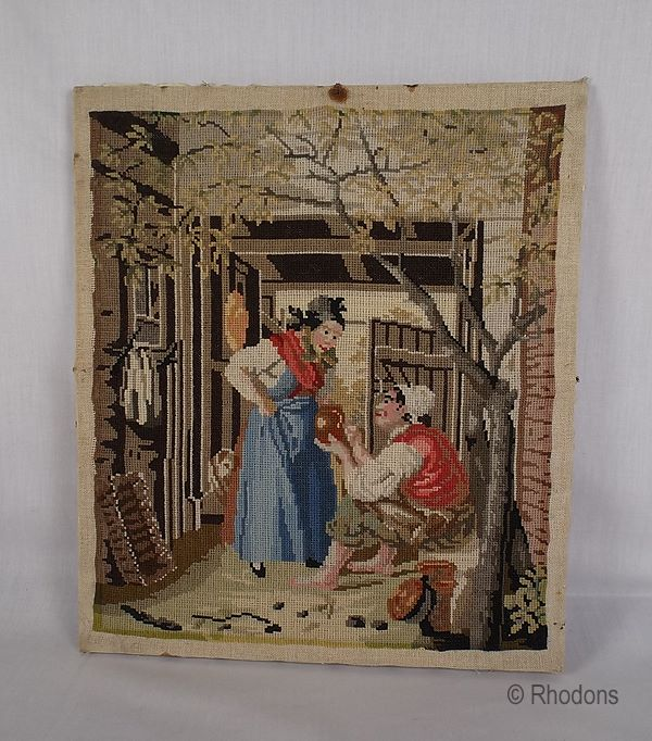 Early Victorian Needlework Tapestry Sampler by Margaret Langburn Pickering School 1842