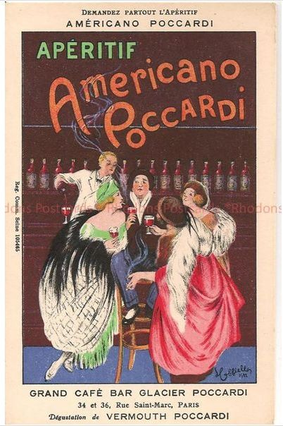 Vintage Advertising Postcard - Grand Cafe Bar Glacier Poccardi, Paris.