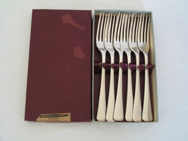 1960s Elkington Salisbury Pattern Silver Plated Table Forks x6, Boxed