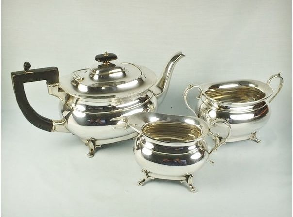 Antique 3 Piece Silver Plate Tea Set, Hamilton Laidlaw