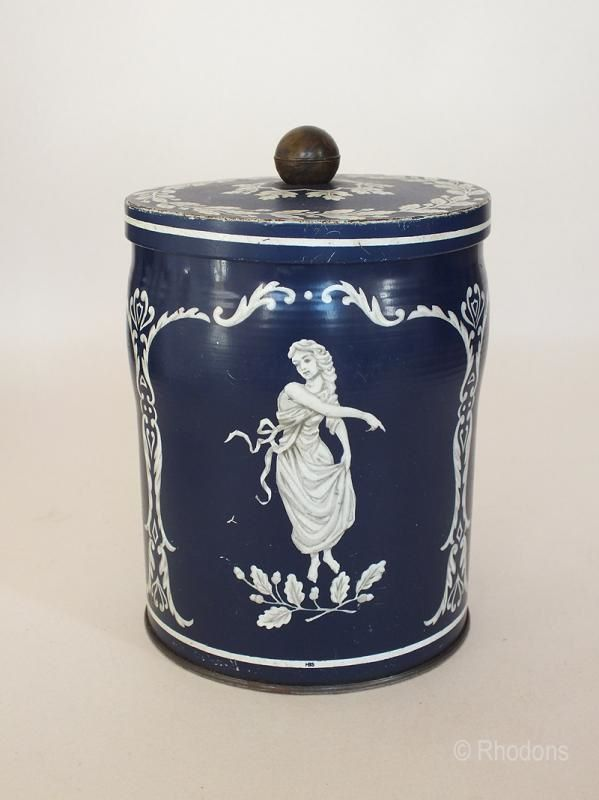 Huntley & Palmers Wedgwood Jasperware Biscuit Tin. Circa 1960s, 1970s