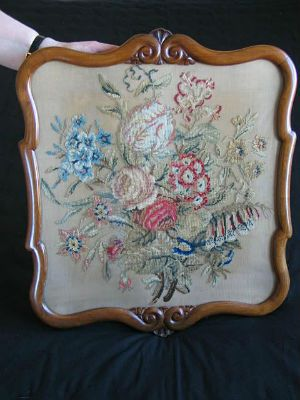 Antique Berlin Wool Work Embroidery Tapestry In Carved Wood Frame