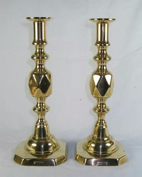"Antique Brass Queen Of Diamonds Candlesticks, Pair, 11.50"" Tall, Late 19th Century"