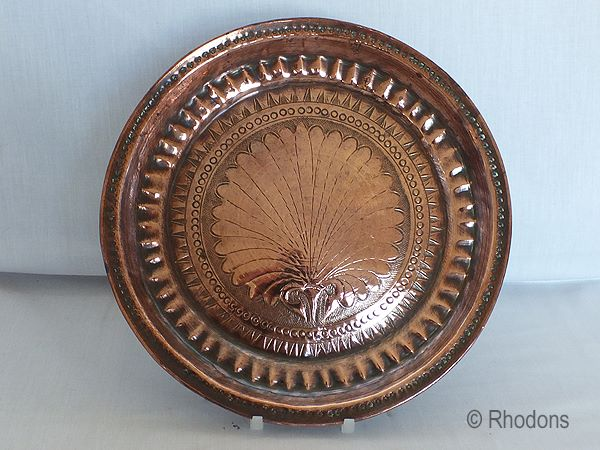 Antique Copper Plate, Hand Decorated