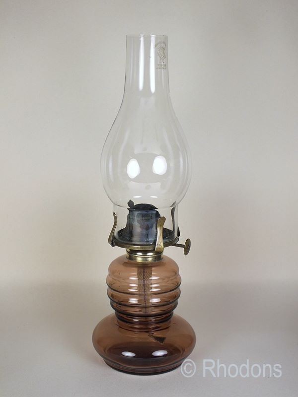 "Antique Glass Oil Lamp, 13"" Tall"
