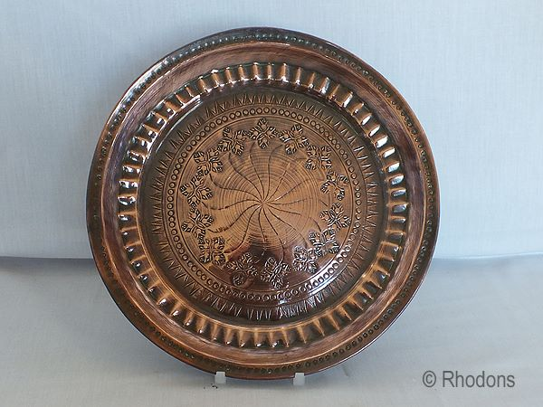 Antique Hand Decorated Copper Plate