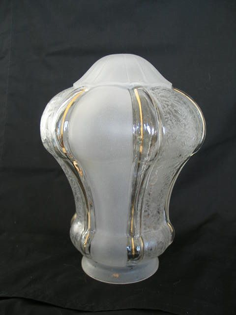Art Nouveau Etched Glass Pendant Lampshade, Early 20th Century
