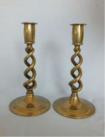Open Barley Twist  Brass Candlesticks