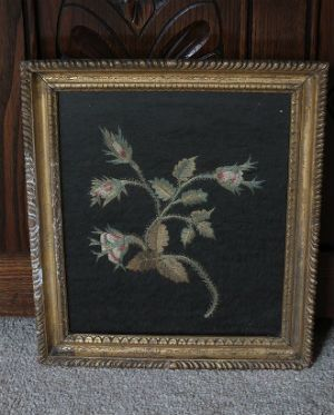 Antique Botanical Silk Embroidery Panel, 19th Century, Mid / Late 1800s