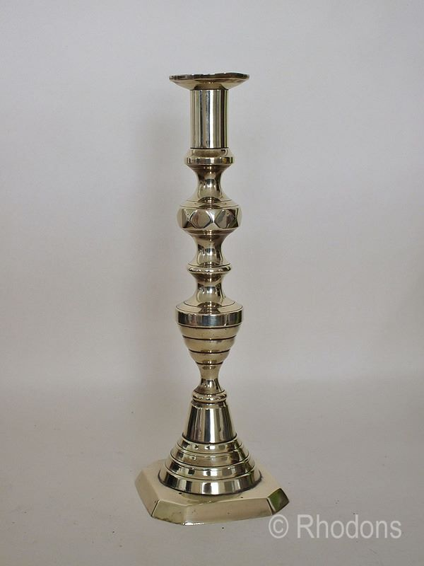 Antique Beehive Pattern Brass Candlestick, 12""