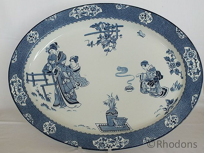 Wood Sons Chinese Tsing Platter, Blue and White Transfer Print