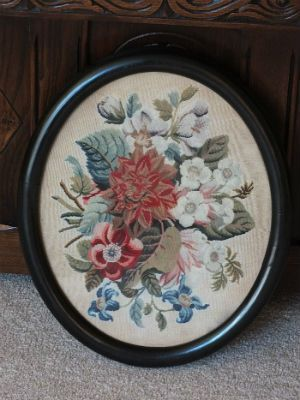 Floral Woolwork Embroidery, Tapestry, Early Victorian, Circa 1840s