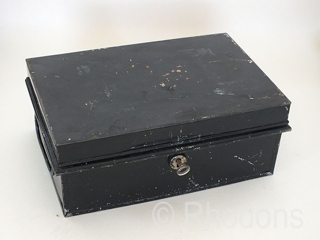 Traditional Metal Cash Box, Pilot Brand, With Key, Circa 1950s