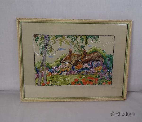 English Country Cottage Garden Embroidery, Circa 1930s, Framed