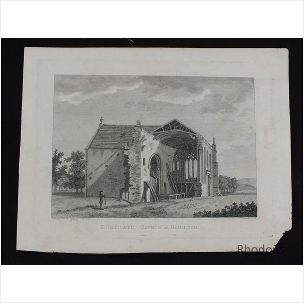 Hooper & Newton Antique Engraving, Collegiate Church At Hamilton Scotland 1789