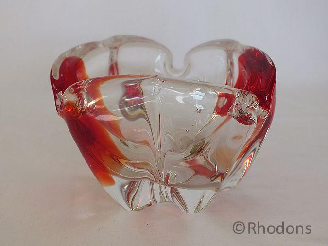 Italian Art Glass Ash Tray, Circa 1950s, Murano Sommerso