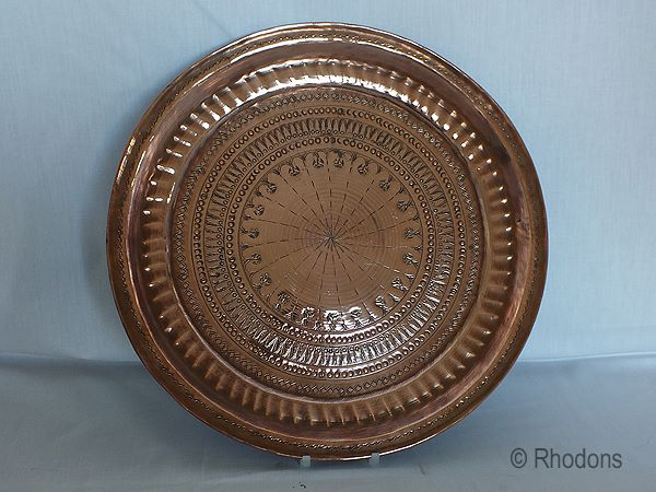 Antique Copper Charger, Large Size, Hand Decorated,  Early 1900s